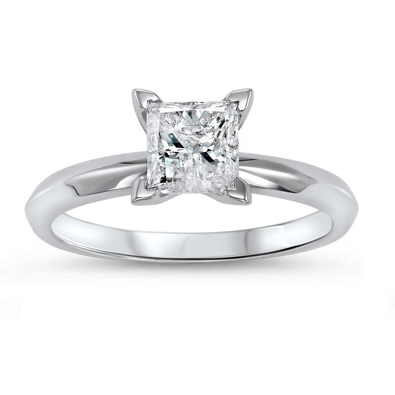 14K P/Cut Diamond Solitaire Ring 3/4 ct