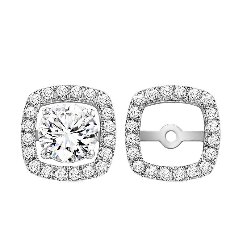 14K Diamond Earrings Cushion Jacket 1/4 ctw (for 1 ctw Studs)