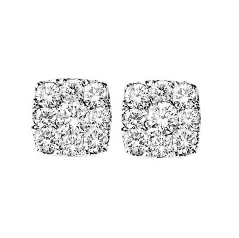 14K Diamond Earrings 1/2 ctw Cushion Shape