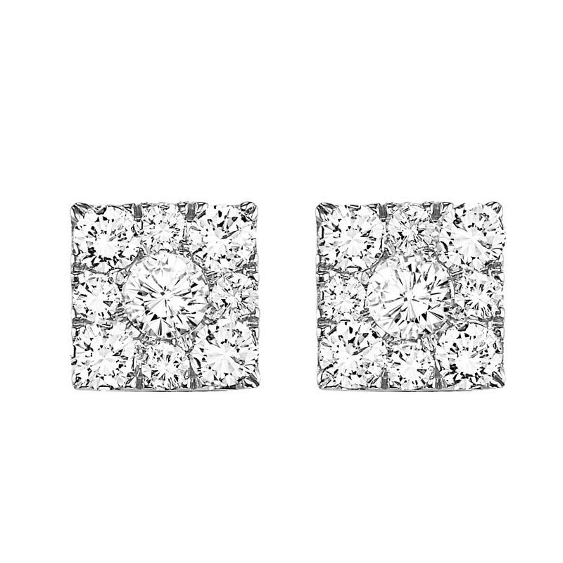 14K Diamond Sq Cluster Earrings 1 ctw