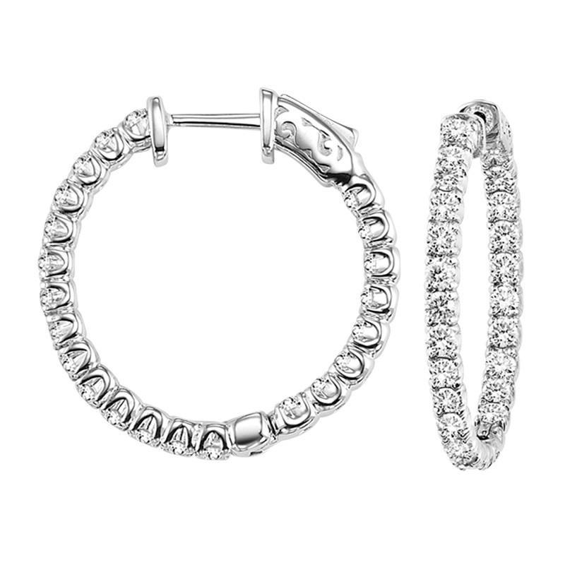 14K Diamond Inside Out Earrings Round 2 ctw