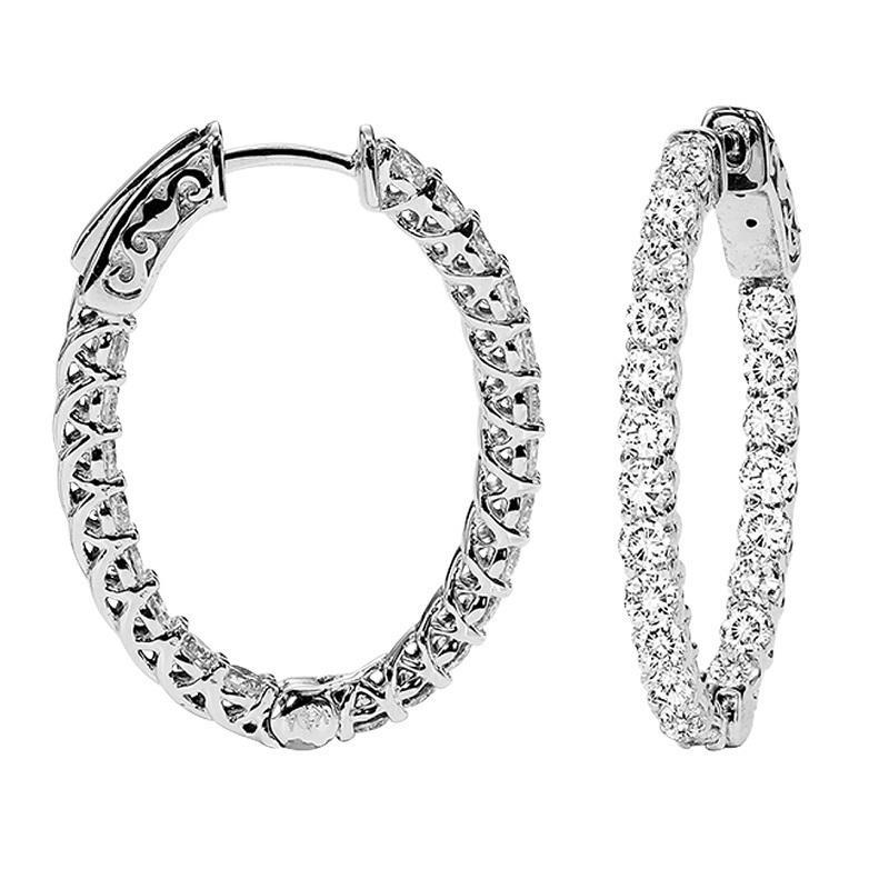 14K Diamond Inside Out Earrings Oval 1 ctw