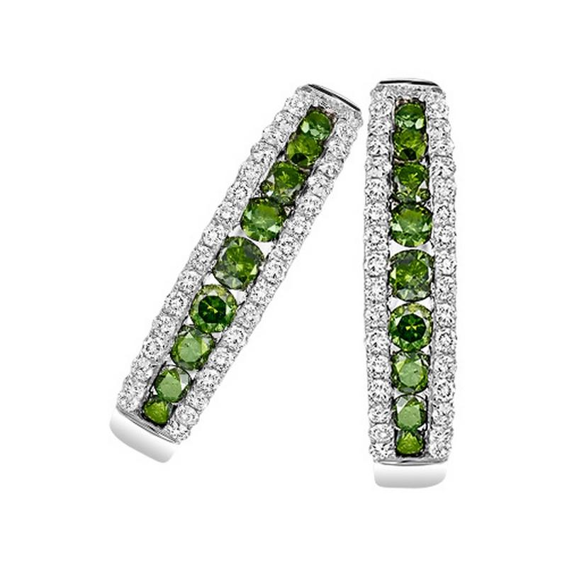 14K Green & White Diamond Earrings 1 ctw