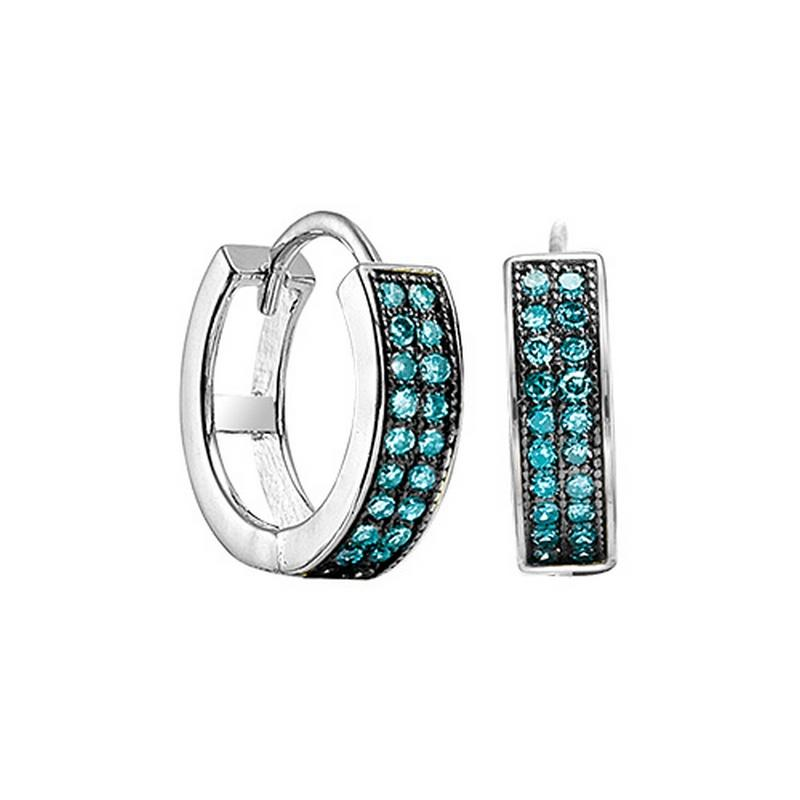 Silver Blue Diamond Earrings 1/7 ctw