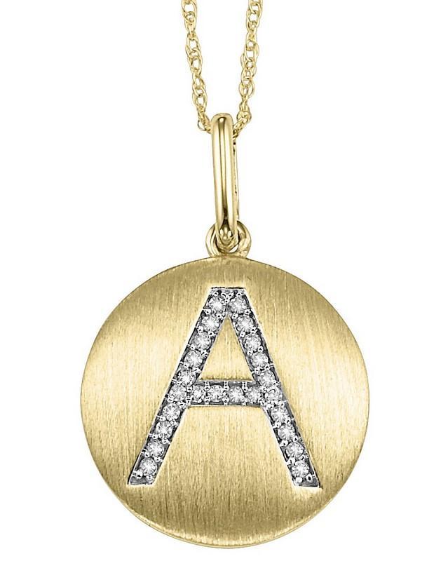 "10KP Diamond Initial Pendant ""A"""