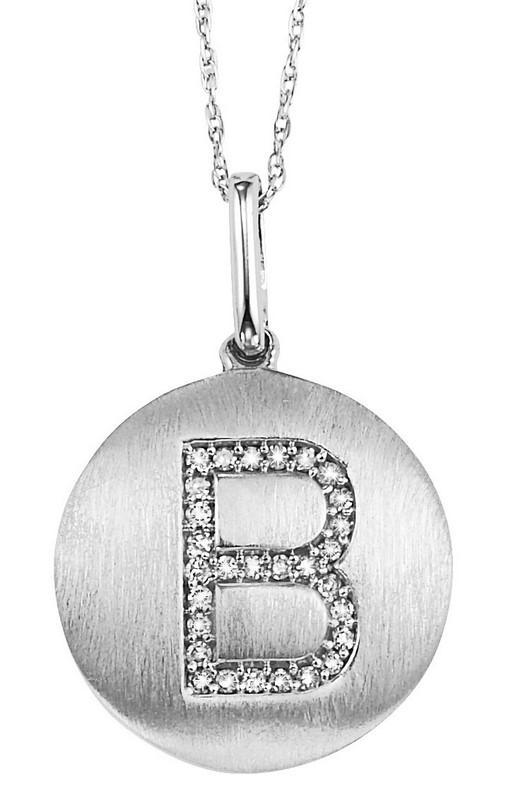 "10KW Diamond Initial Pendant ""B"""