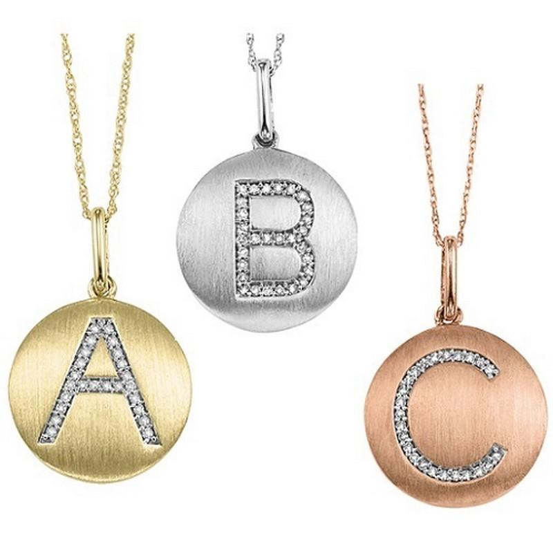 "10KP Diamond Initial Pendant ""C"""