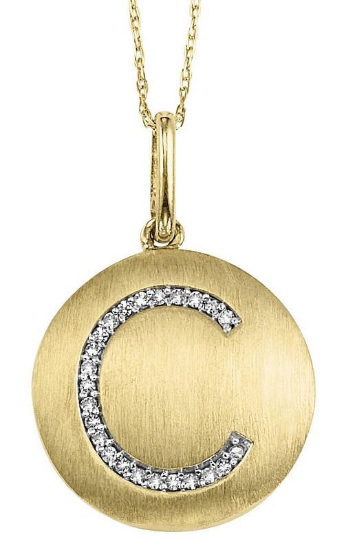 """10KY Diamond Initial Pendant """"C"""""""