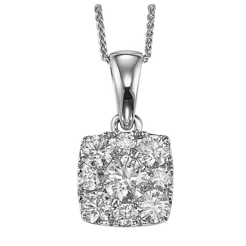 14K Diamond Pendant 1/2 ctw Cushion Shape
