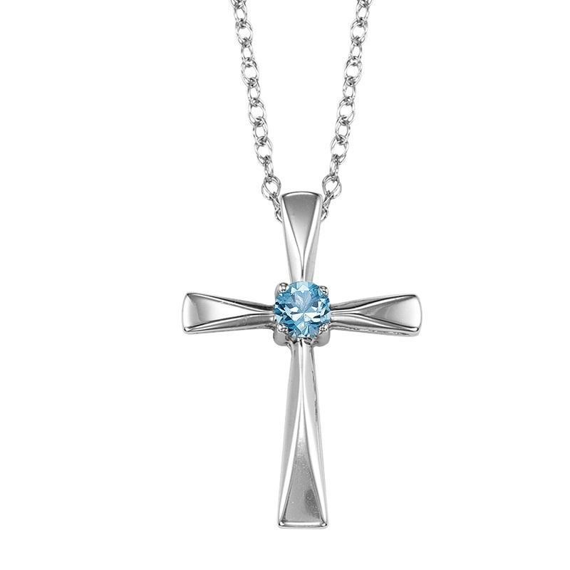 Silver Blue Topaz Cross Pendant