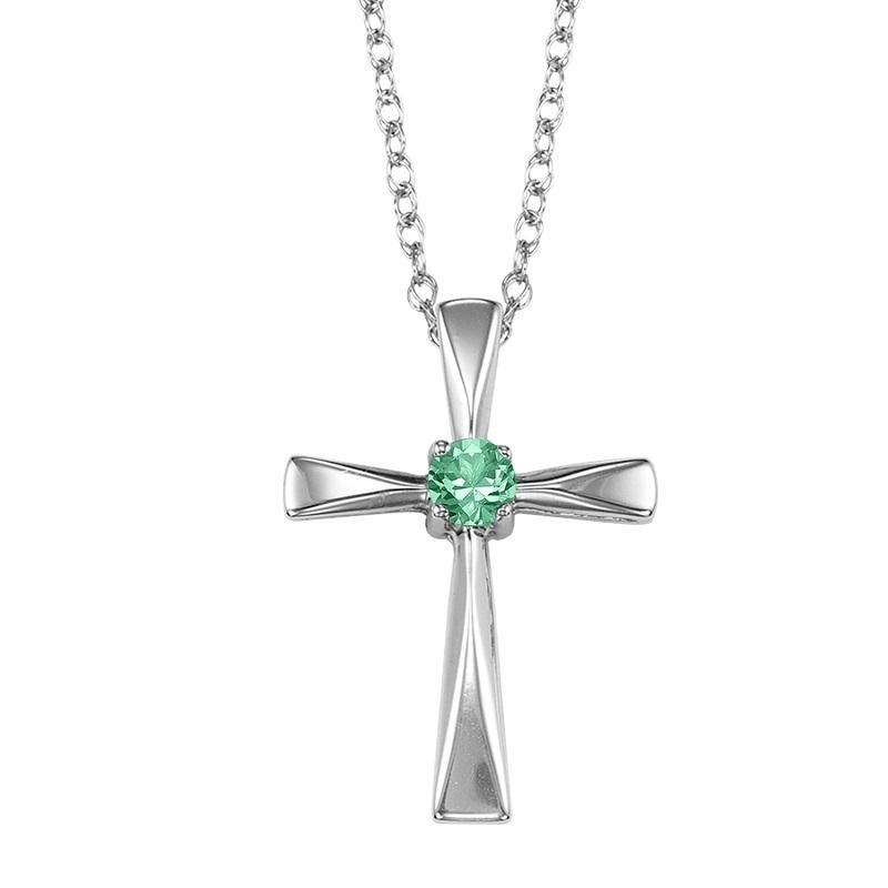 Silver Emerald Cross Pendant