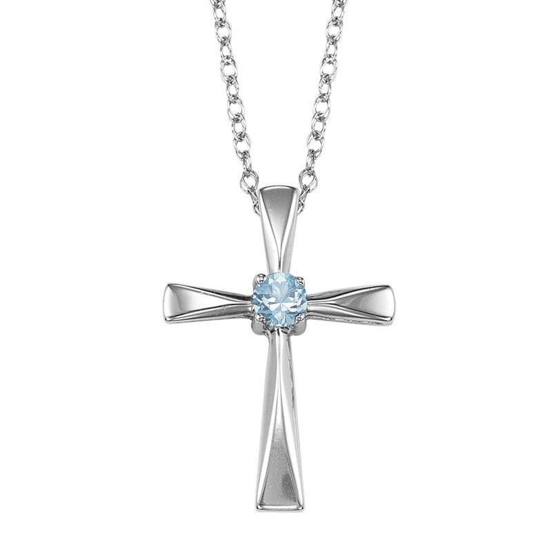 Silver White Topaz Cross Pendant