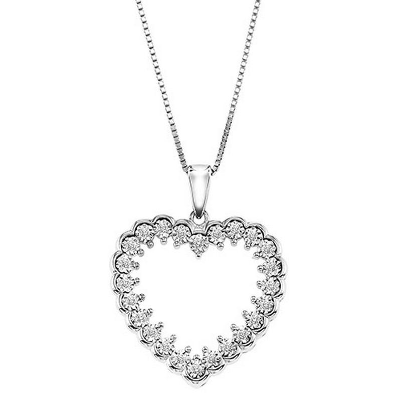 Silver Diamond Pendant 1/8 ctw