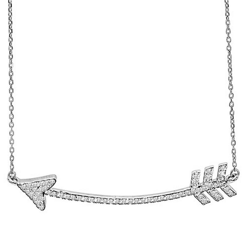 Silver White Diamond Arrow Pendant 1/3 ctw