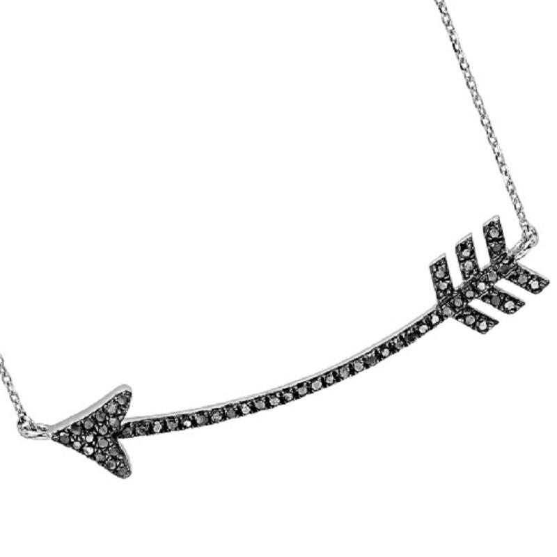 Silver Black Diamond Arrow Pendant 1/3 ctw