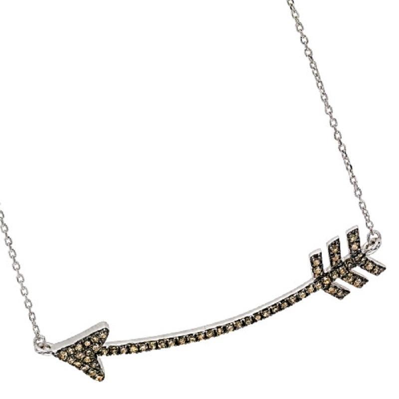 Silver Brown Diamond Arrow Pendant 1/3 ctw
