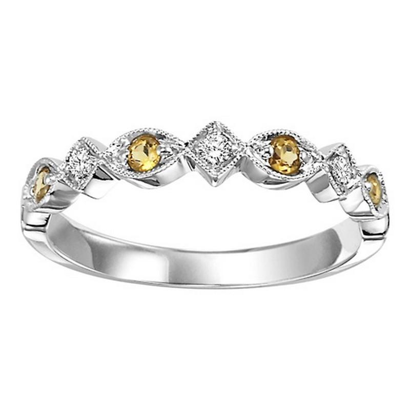 14K Citrine & Diamond Mixable Ring