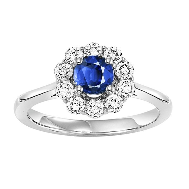 14K Sapphire & Diamond Ring