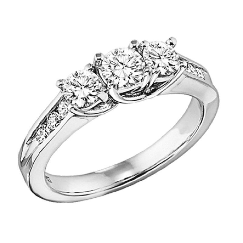 14K Diamond 3 Stone Plus Ring 1/2 ctw