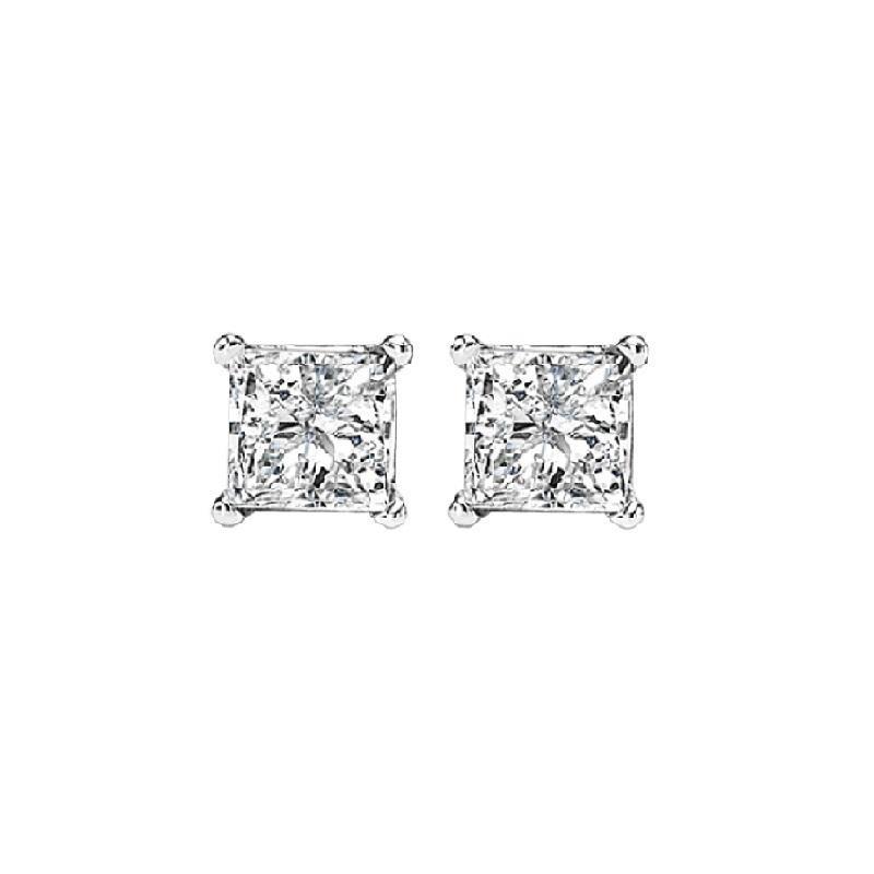 14K P/Cut Diamond Studs 1/3 ctw
