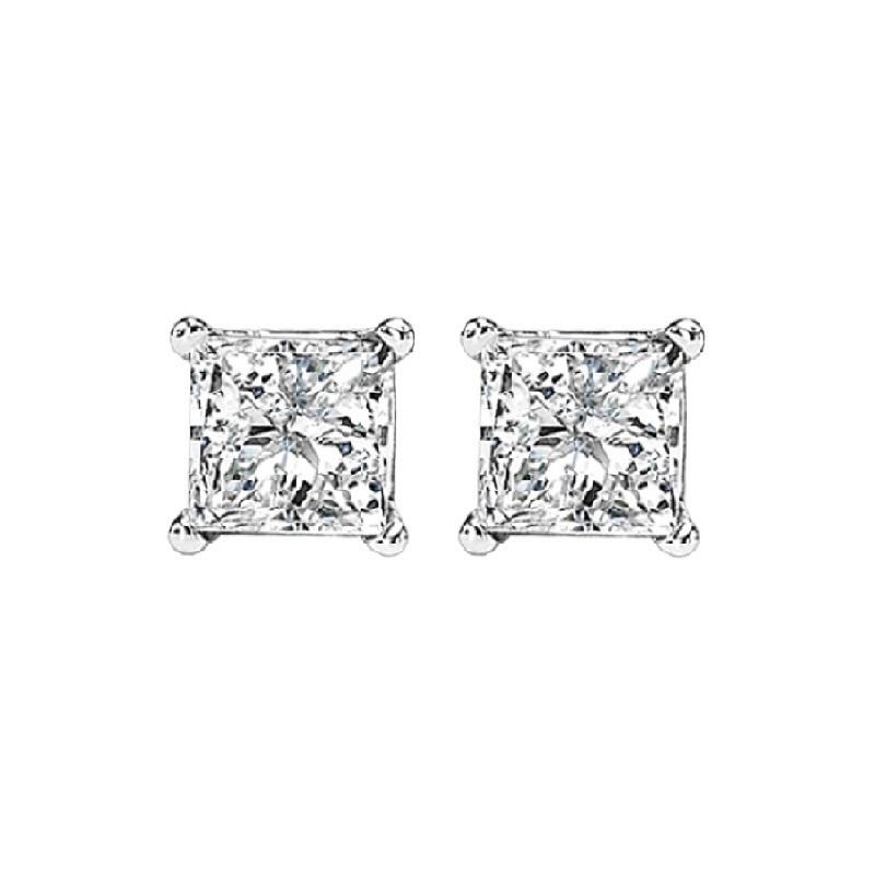 14K P/Cut Diamond Studs 5/8 ctw P2