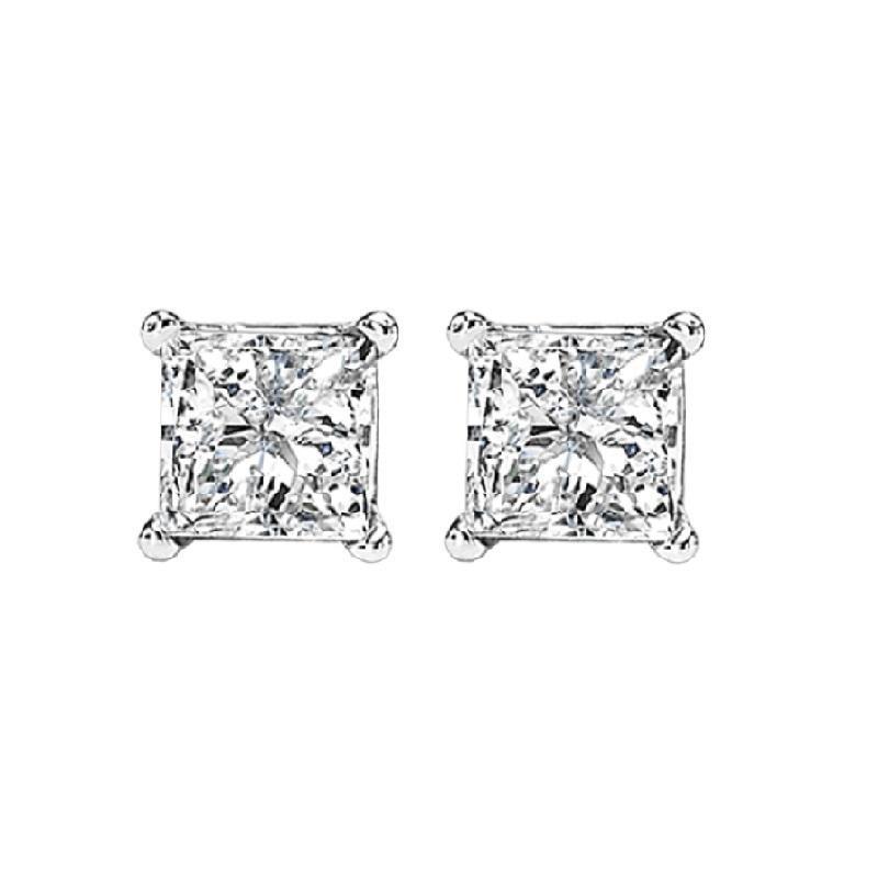 14K P/Cut Diamond Studs 3/4 ctw P2
