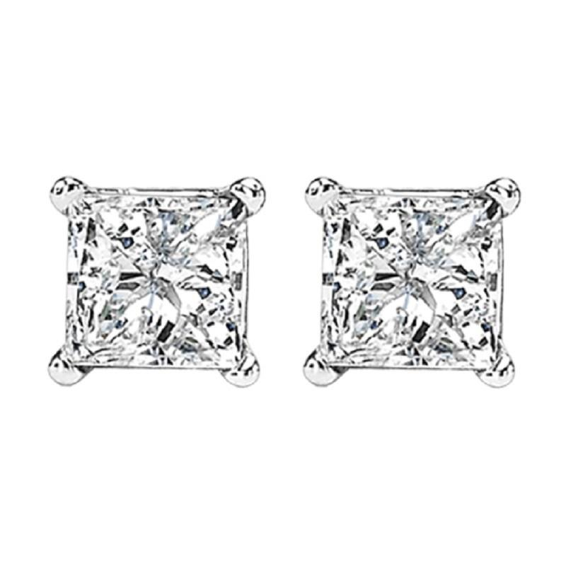 14K P/Cut Diamond Studs 2 ctw P2