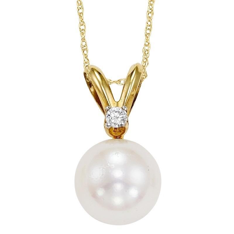 Cultured Pearl & Diamond Pendant 8.5 mm