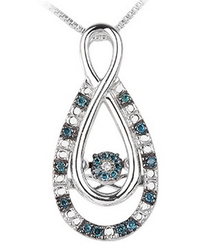 Silver Blue & White Diamond Rhythm Of Love Pendant 1/10 ctw
