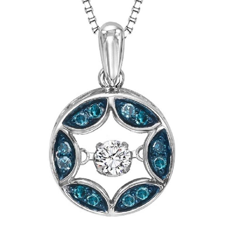Silver Blue Diamond Rhythm Of Love Pendant
