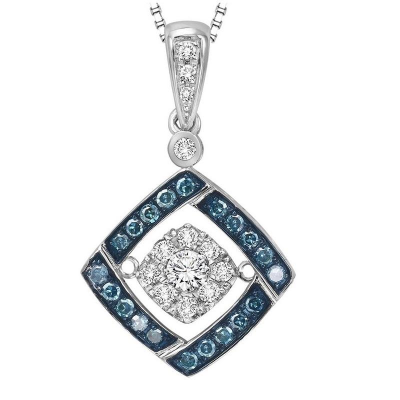 Silver Blue & White Rhythm Of Love Pendant 1/3 ctw