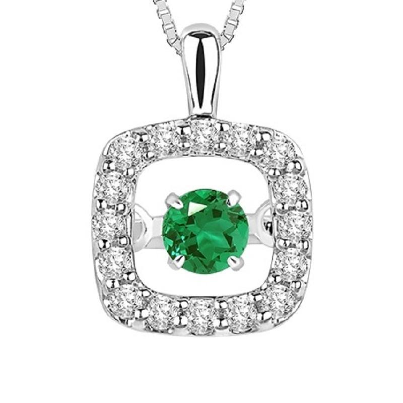 14K Emerald & Diamond Rhythm Of Love Pendant