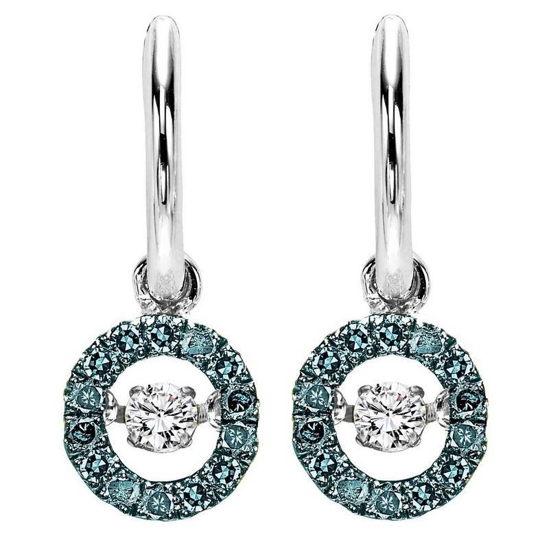 Silver Blue & White Diamond Rhythm Of Love Earrings