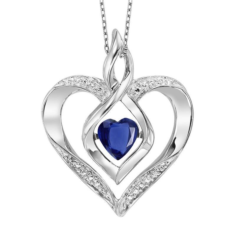 Silver Diamond & Created Sapphire Pendant
