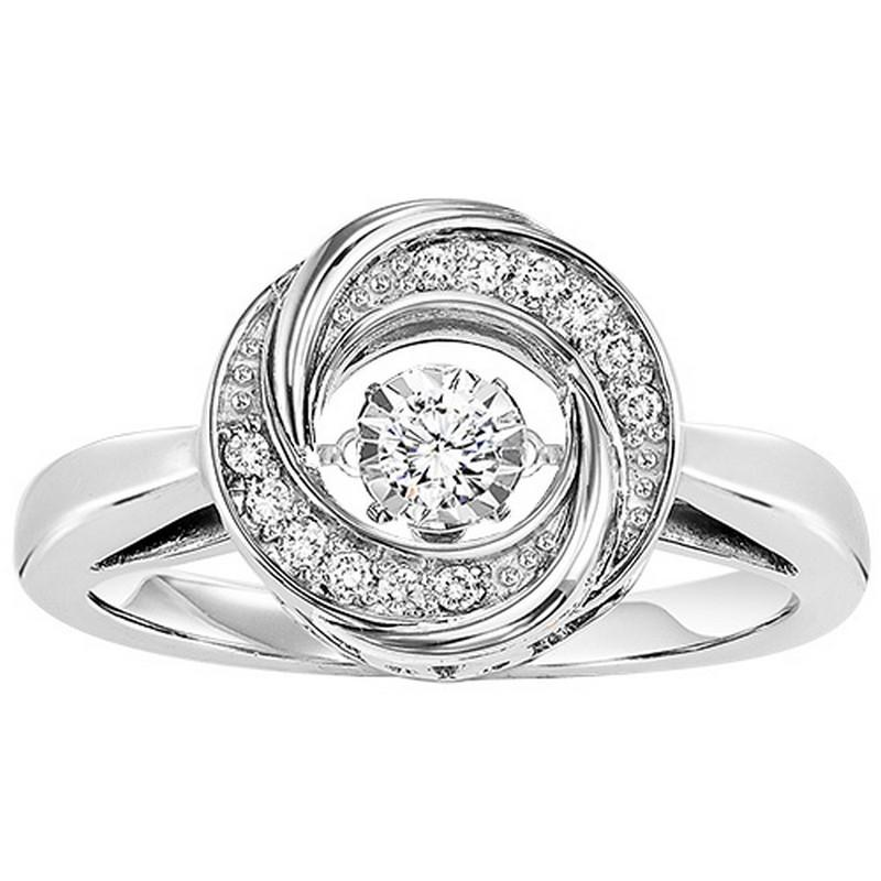 Silver Diamond ROL Ring 1/10 ctw