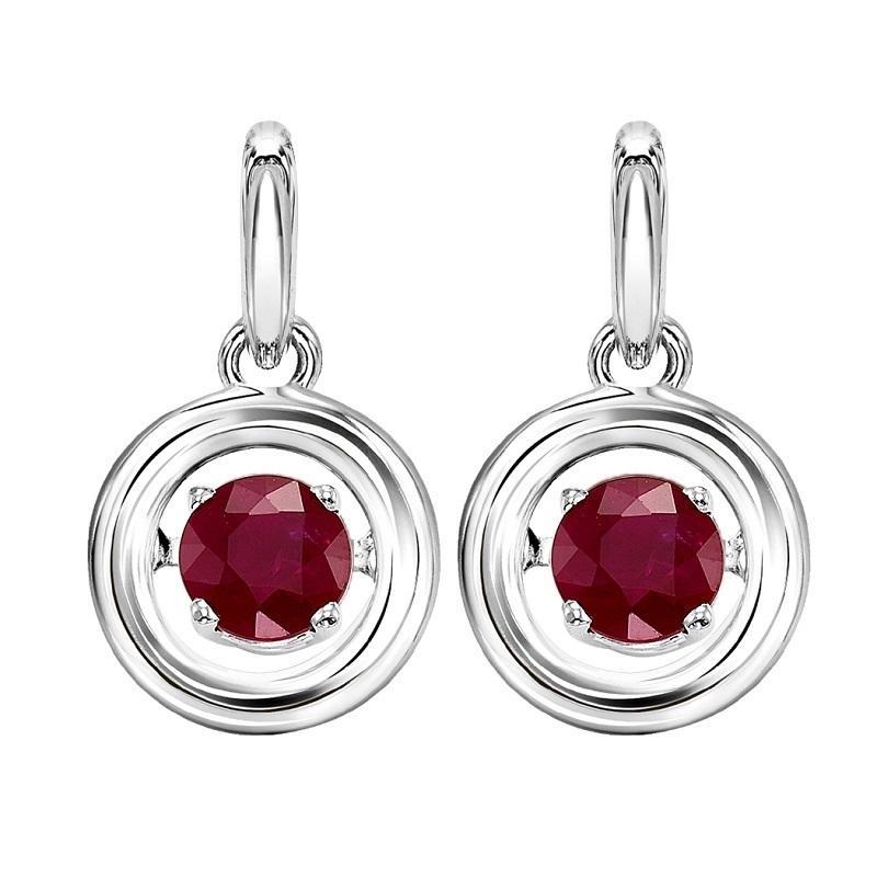 Silver Ruby Rhythm Of Love Earrings