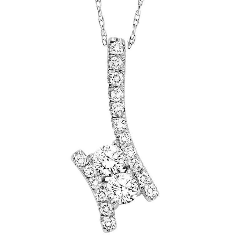 14K Diamond Two Stone Pendant 1 ctw