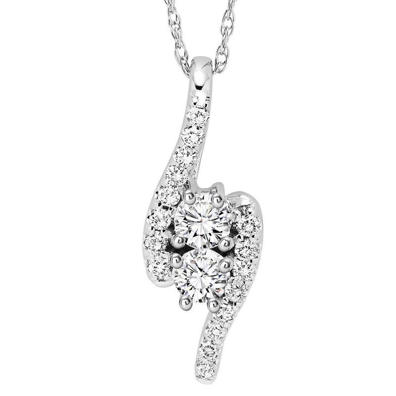 14K Diamond Two Stone Pendant 1 ctw