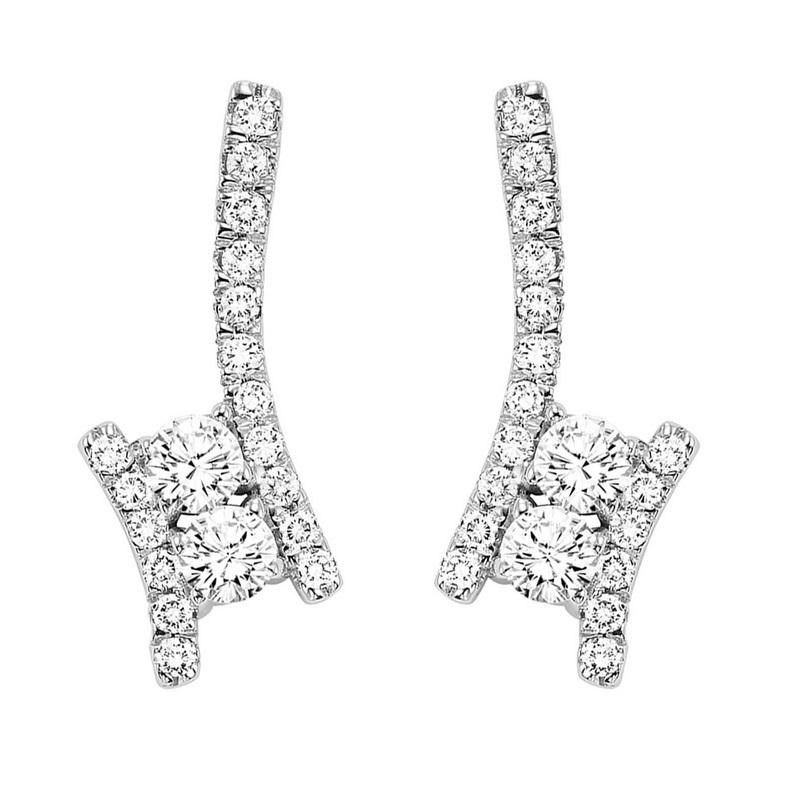 Silver Diamond Two Stone Earring 1/2 ctw