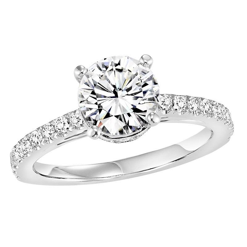 14K Diamond Engagement Ring 3/8 ctw with 1 ct Center