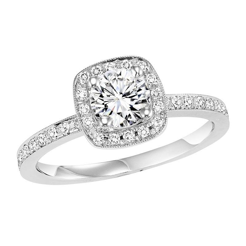 14K Diamond Engagement Ring 1/4 ctw with 5/8 ct Center