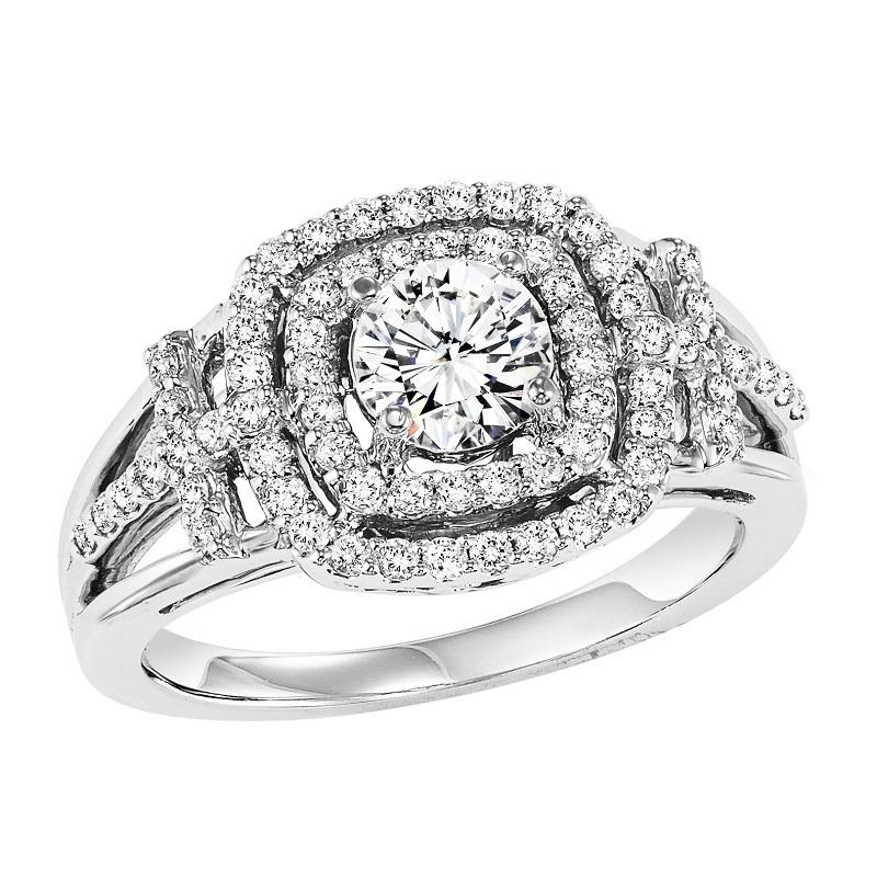 14K Diamond Engagement Ring 1/2 ctw with 3/4 ct Center