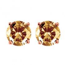 10K Brown Diamond Studs 1 ctw