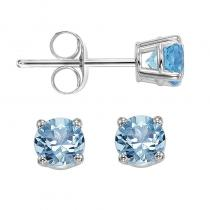 14K Blue Topaz Studs 4 mm Rd