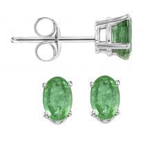 14K Emerald Studs 5X3 Oval