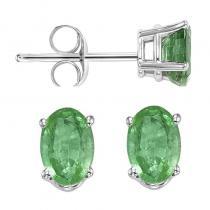 14K Emerald Studs 6x4 Oval