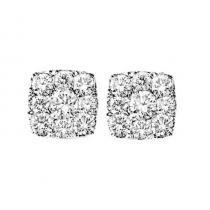 14K Diamond Earrings 1/2 ctw Cushion Shape