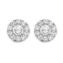 14K Diamond Cluster Earrings 1/4 ctw Round