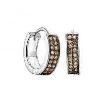 Silver Brown Diamond Earrings 1/7 ctw
