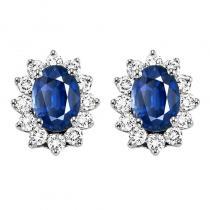14K Sapphire & Diamond Earrings